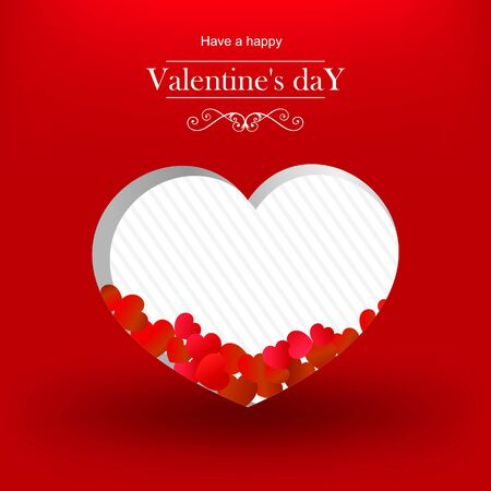 Valentines day, card in the shape of heart on red background. Reklamní fotografie - 94290247