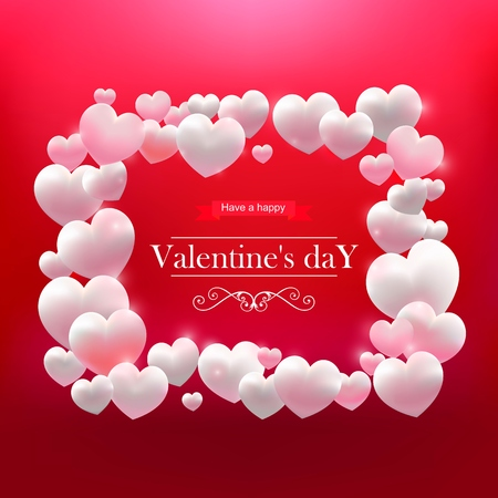 Valentines Day, frame of white hearts
