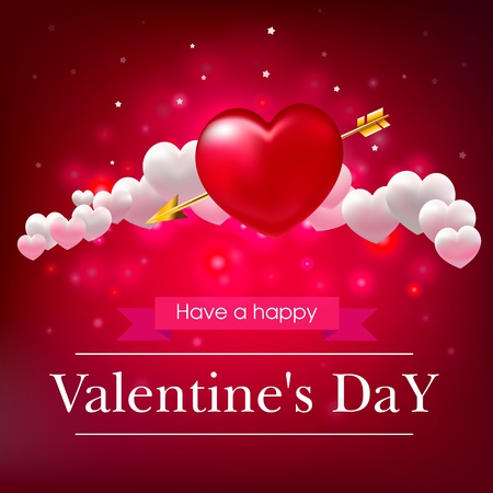 Valentines day, red background, white hearts, realistic vector illustration