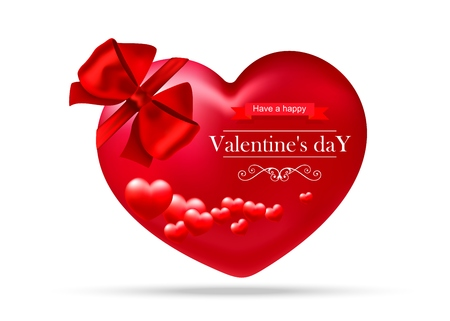 Valentines day, red heart with red bow on white background Ilustrace