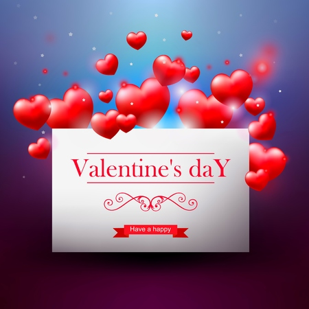 Valentines day, white card with red hearts, realistic illustration