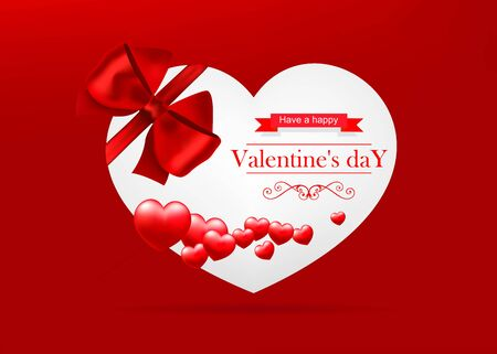 Valentines day, white card with red hearts on red background.