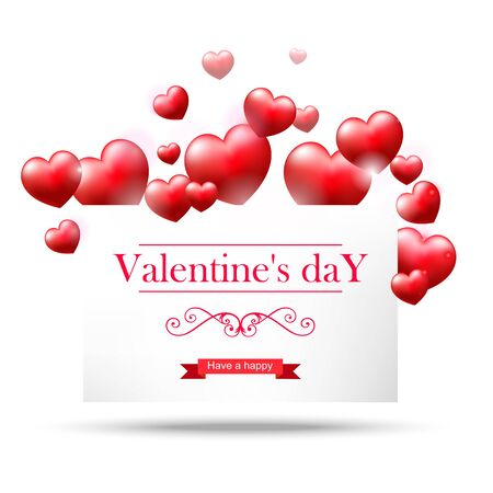 Valentines day, white card with red hearts on white background