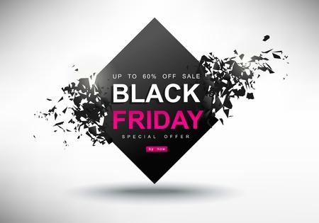 black friday sale banner, creative template on flat design Vector illustration.