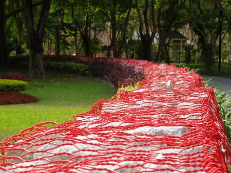 Red net in the garden