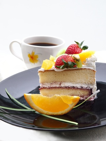 Fruity soft cake with coffee