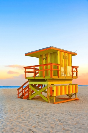 miami sunset: Yellow Orange and Green Lifeguard Tower In South Beach,Miami,Florida
