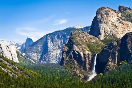 Beautiful mountains and waterfall scenery of Yosemite photo