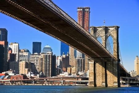 New York City Brooklyn Bridge and Manhattan skyline Stock Photo