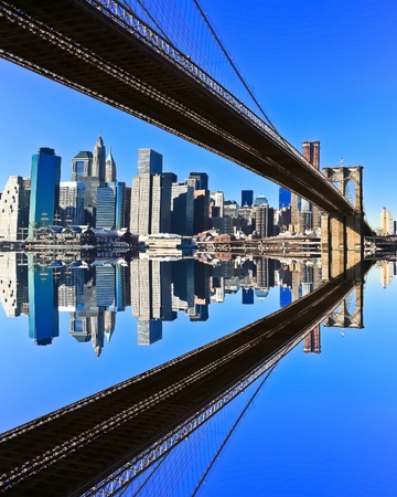 Brooklyn Bridge and Manhattan skyline on a Clear Blue day photo