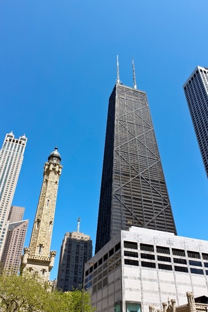 Chicago skyline on Michigan Ave(Magnificent Mile) 新聞圖片