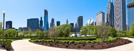 windy city: Horizonte de Chicago una vista panor�mica desde el Parque del Milenio Editorial