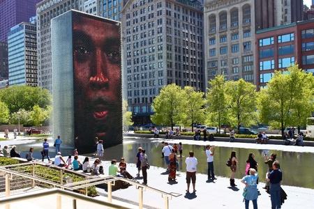 The Jaume Plensa Crown fountain in Millennium Park, Chicago, Illinois 版權商用圖片 - 11314671