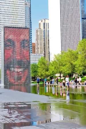 The Jaume Plensa Crown fountain in Millennium Park, Chicago, Illinois