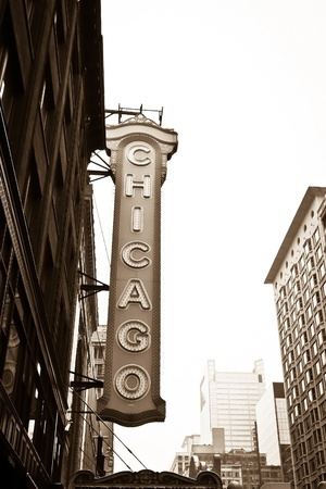 The famous Chicago Theater on State Street in Chicago, Illinois