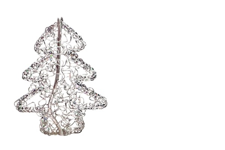 Abstract Wired Metal Christmas Tree Isolated On White Photo