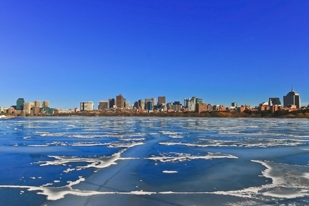 Frozen Charles river and Boston skyline in winter Stock Photo