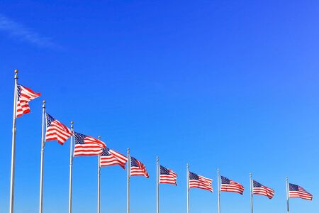 US Flags at the Washington Monument in Washington DC  photo