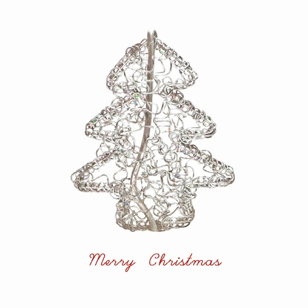 Abstract Wired Metal Christmas Tree Isolated On White Background Photo