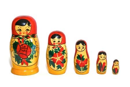 muñecas rusas: Muñecas rusas en una sola fila