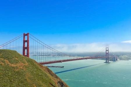 Foggy day at The Golden Gate Bridge in San Francisco, California photo