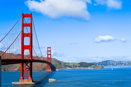 bay: Sunny day at The Golden Gate Bridge in San Francisco, California