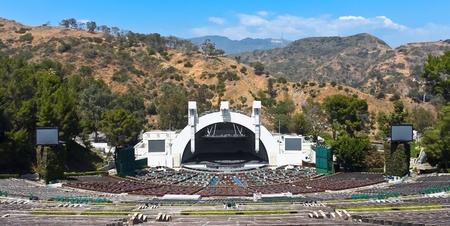 singing bowl: LOS ANGELES - MAY 18: The Hollywood bowl amphitheater on May 18, 2009 in Hollywood, Los Angeles, CA. It is the largest natural amphitheater in the United States, with seating capacity of nearly 18,000