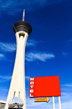 LAS VEGAS - JAN 1: Stratosphere hotel tower with blank hotel sign in Las vegas, Nevada  Editorial