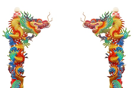 Chinese style twin dragon statue isolated on white background Stock Photo