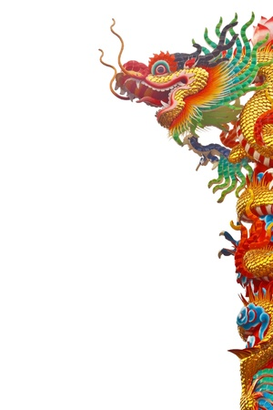 Chinese style dragon statue isolated on white background photo