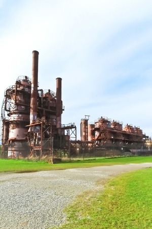 abandoned factory: Gas industrial machineries at Gas works public park, Seattle, Washington  Stock Photo