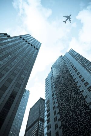 Vliegtuig vliegen over wolkenkrabber in blauw toon kleur Stockfoto