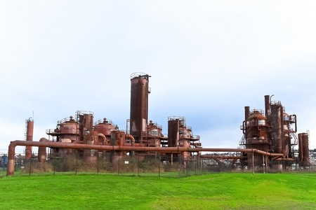 industry park: Gas industrial machineries at Gas works public park, Seattle, Washington