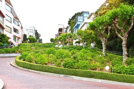 visitors area: Lombard Street in San Francisco, California Editorial
