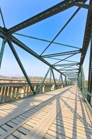 Historical bridge over the pai river in Mae hong son, Thailand  Stock Photo