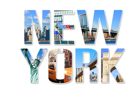 travel collage: New York City themed wording collage with famous locations of New York City