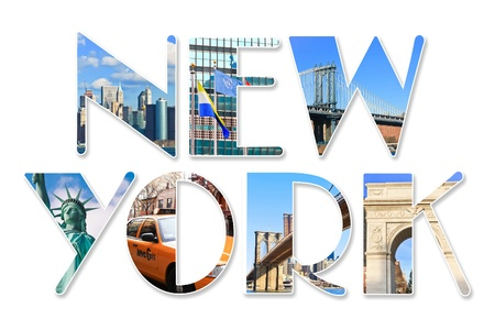 central square: New York City themed wording collage with famous locations of New York City