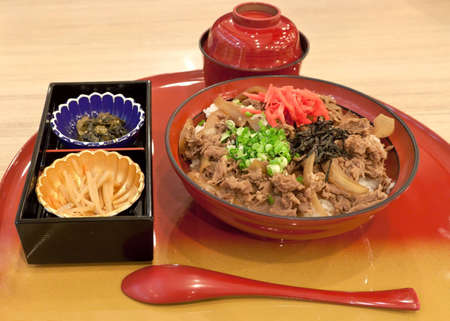 Gyudon japanese beef and rice bowl in set photo