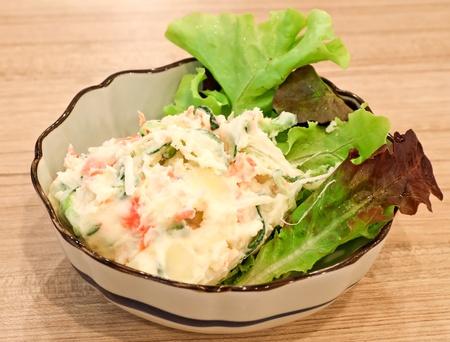 side salad: Potato salad with cucumber and kamaboko Japanese style