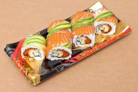 Salmon and avocado sushi  photo