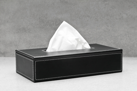 facial tissue: Black box of tissue Stock Photo