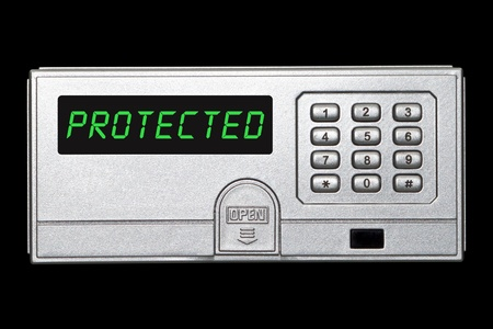 bank vault: Digital safety deposit box panel with protectes wording on the panel