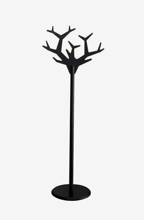 Modern wooden black coat rack isolated photo