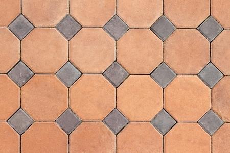 Orange and grey concrete pavings block pattern Stock Photo