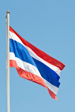 Waving Thai national flag with blue sky background 版權商用圖片