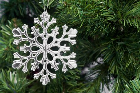 Snowflake decoration, Christmas tree ornament and decoration, winter holidays  photo