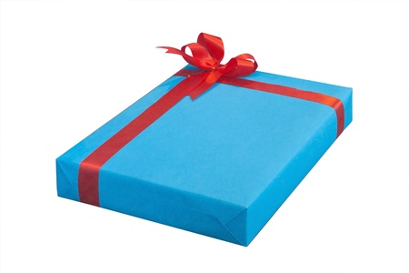 Blue present box with red ribbon isolated on white background photo