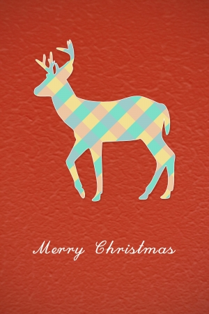 Colorful Christmas reindeer on red background photo