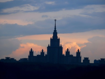 The Moscow university. Sunset. Clouds.  photo