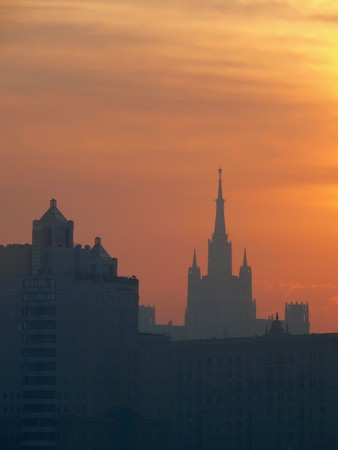 Red dawn over the city center. Moscow.  photo